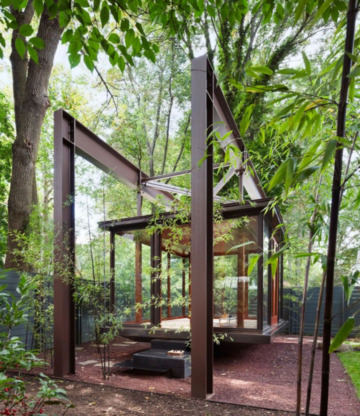 outdoor tea meditation space